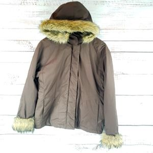 Old Navy cotton coat faux fur cuffs and hood